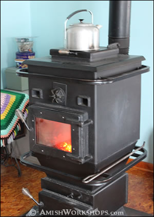 Coal stove in an Amish home.