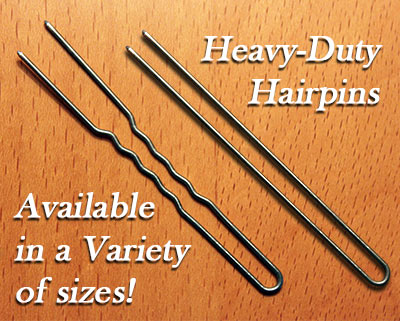 Heavy-duty Amish hairpins available in straight or crinkle in a variety of sizes.