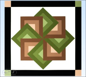 Brown-Green-Star-Spin-Barn-Quilt amish made
