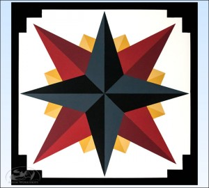 Charcoal-Mariners-Compass-Barn-Quilt Amish made