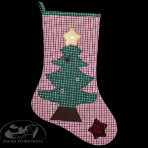 Christmas-Stocking-red-gingham-amish made