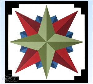 Green-Mariners-Compass-Barn-Quilt amish made