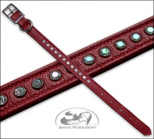 Leather-Pet-Collar-Red amish made