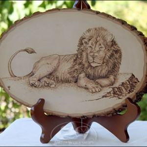 Lion-Woodburning amish