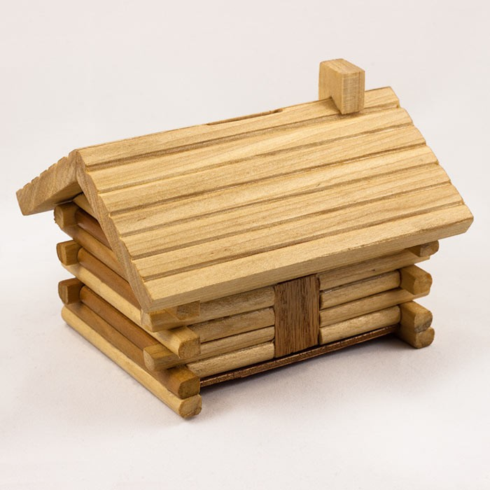 wood toy Log-Cabin-Bank amish made