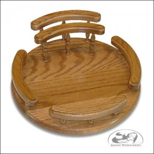 amish Oak-Lazy-Susan-with-rails-and-napkin-holder