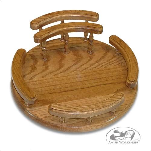 amish Oak-Lazy-Susan-with-rails-and-napkin-holder