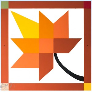 Orange-Yellow-Leaf-Barn-Quilt amish made
