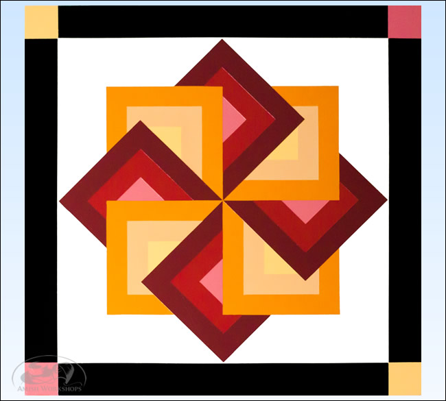 Red Orange-Star-Spin-Barn-Quilt amish made