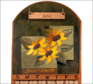Sunflower-Perpetual-Wooden-Calendar amish made