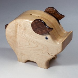 Wood-Piggy-Bank amish made