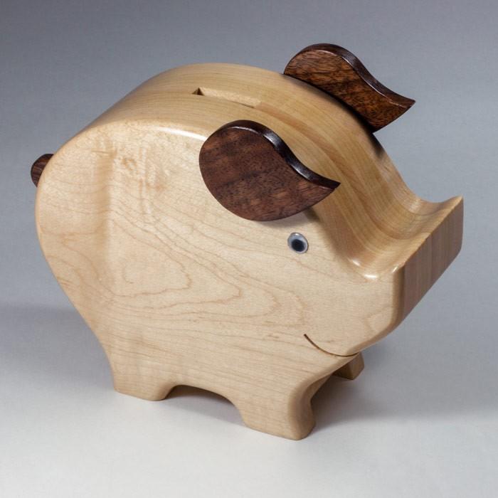 Wood-Piggy-Bank amish made