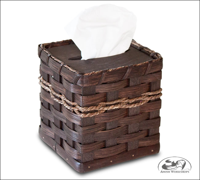 Woven-Square Tissue-Basket amish made