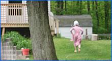 Young Amish girl running away