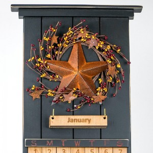 Black Barn Star Wooden Perpetual Calendar