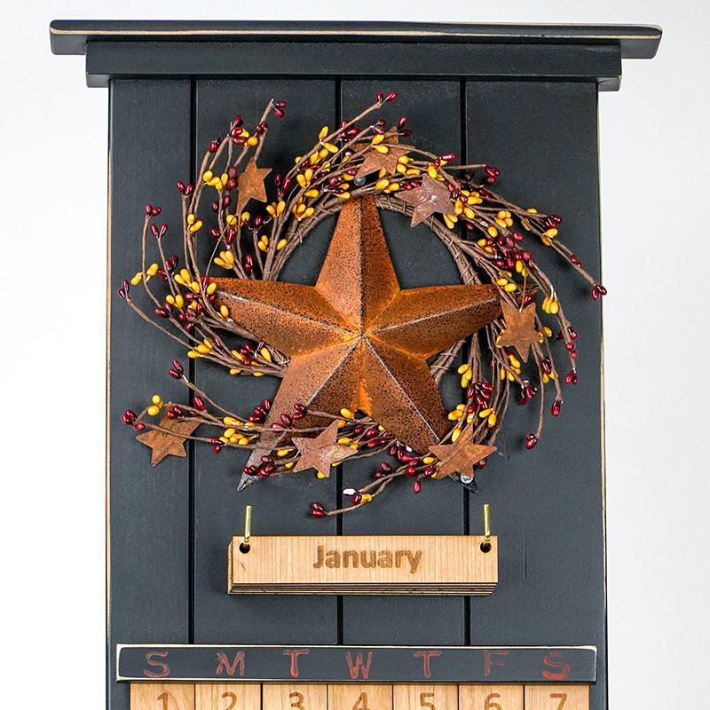 Black Barn Star Wooden Perpetual Calendar