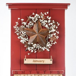 Red Barn Star Wooden Perpetual Calendar