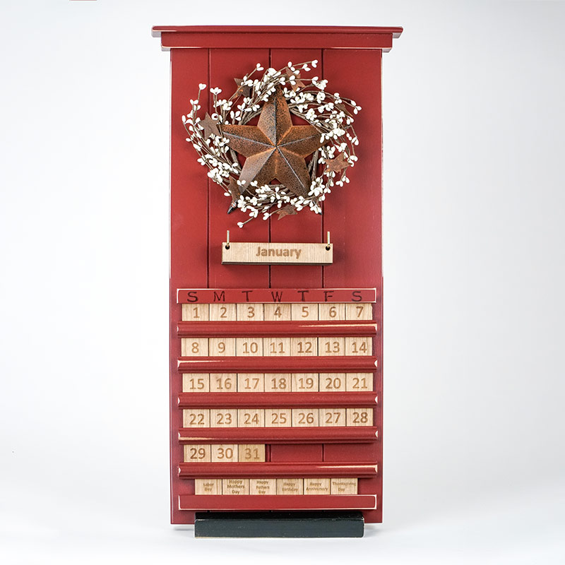 Red Barn Star Wooden Perpetual Calendar