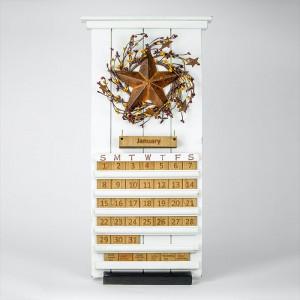 White Barn Star Wooden Perpetual Calendar