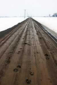 Hoof prints and tire tracks left by an Amish buggy on a muddy road..