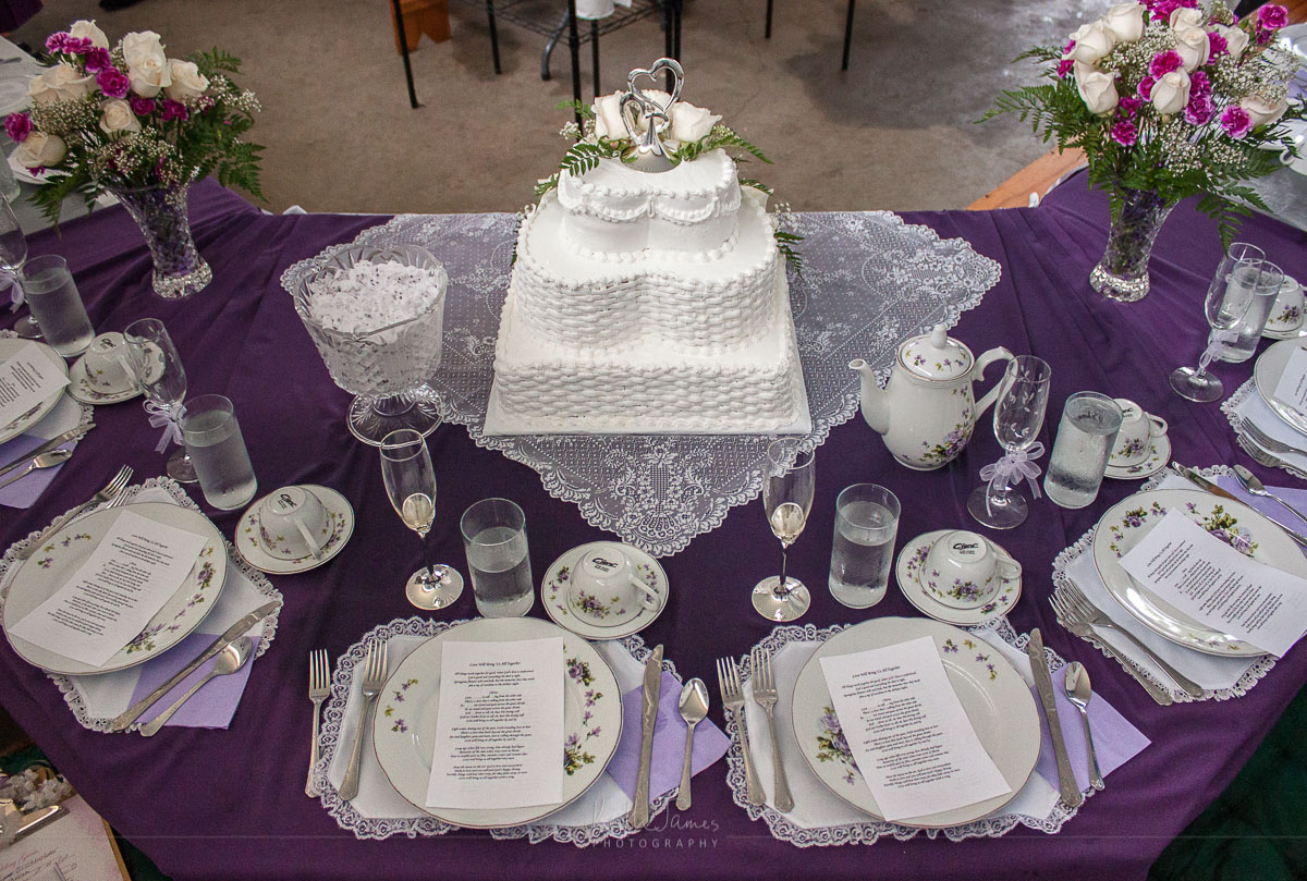 Place settings at an Amish wedding.