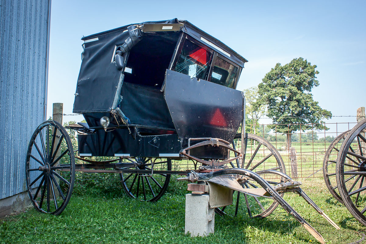 An Amish buggy that was involved in an accident.
