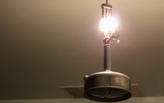 White gas lantern in an Amish home.