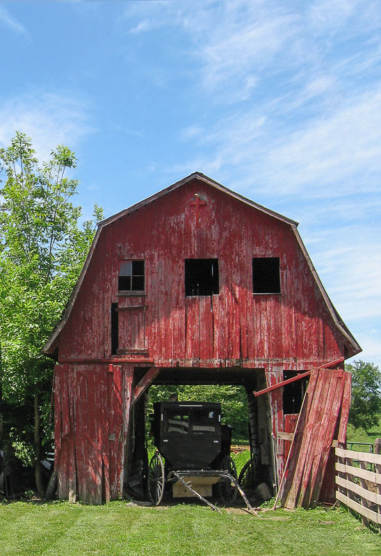 A small corn crib barn makes an excellent parking place.